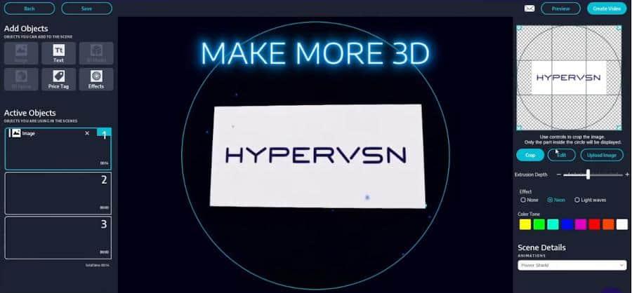 Proiettore Ologrammi 3D con Background Removal